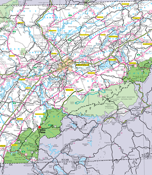 Map To Red Mountain Tellico Plains Tennessee - Map of east tn